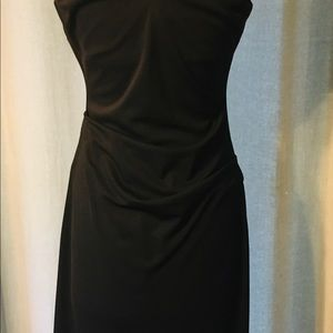 Nicole Miler Black Sleeveless V-neck Tuck Dress.